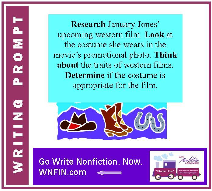 Writing Prompt: Focus on January Jones' Western Movie Costume