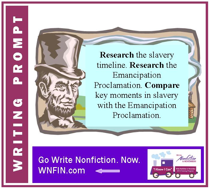 Writing Prompt: Compare Slavery Timeline with Emancipation Proclamation