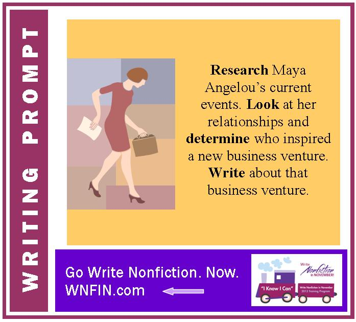 Writing Prompt: Write about Dr. Maya Angelou's Recent Business Venture