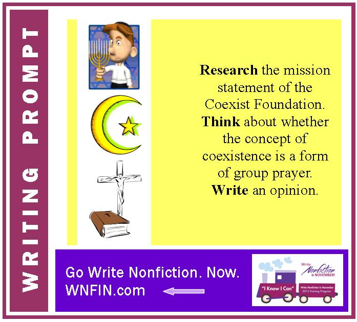 Writing Prompt: Do You Support the Mission of the Coexist Foundation?