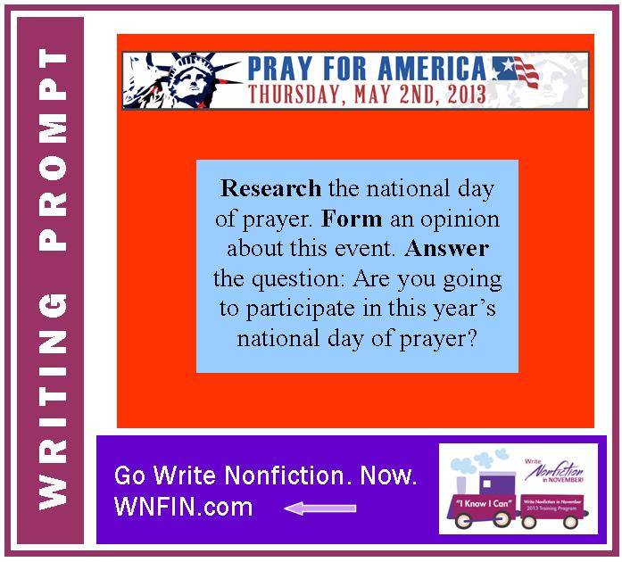 Writing Prompt: Will You Participate in the National Day of Prayer?