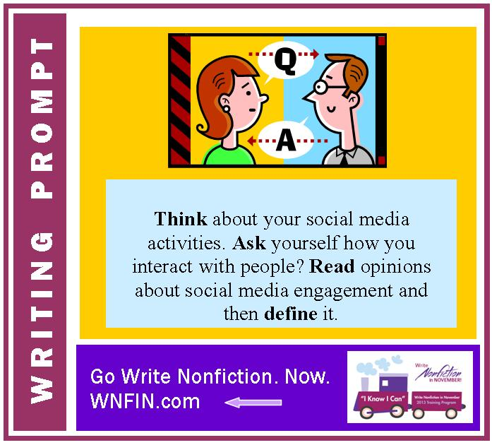 Writing Prompt: Define Social Media Engagement Based on Personal Experiences