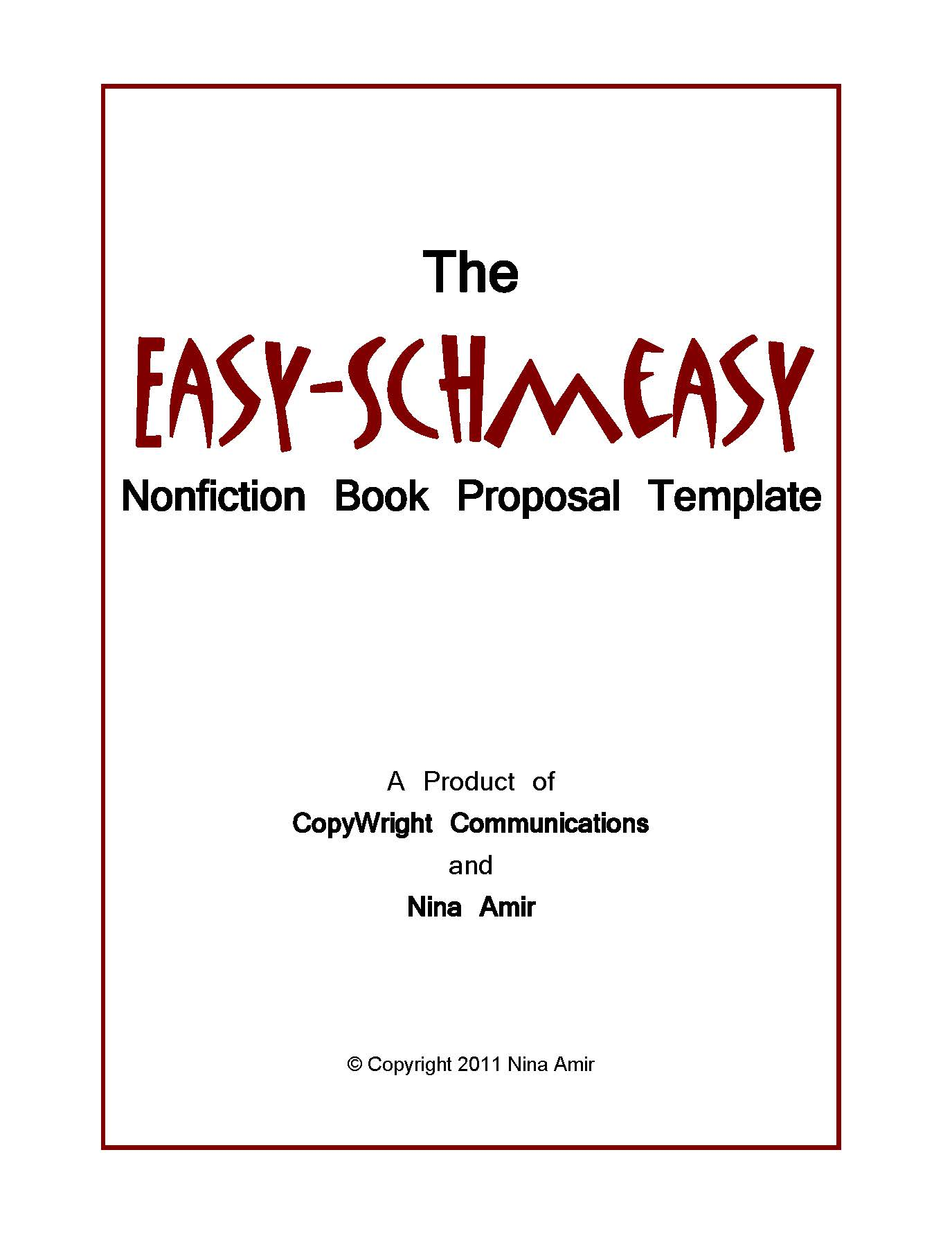 writing a book template word - easy schmeasy book proposal template write nonfiction now
