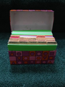 card box for organizing writing project