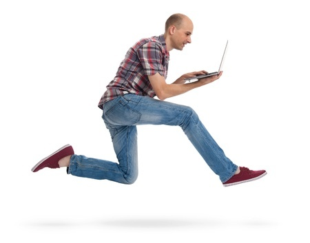 write fast man running with laptop spaxia 123RF stock photo