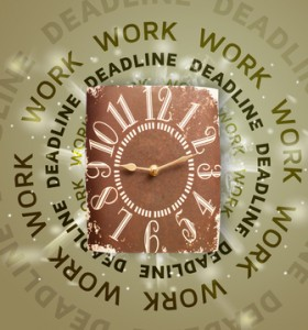 clock with work an deadline for writers