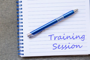 52604882 - training session text concept write on notebook