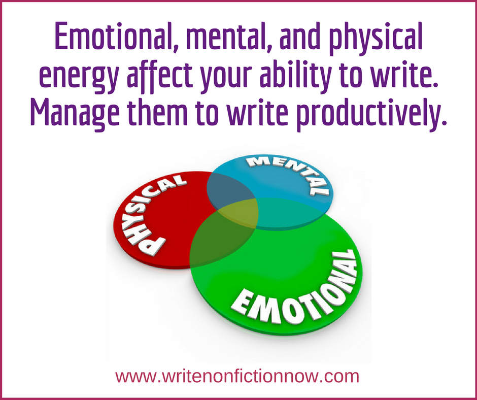 mange energy to write productively