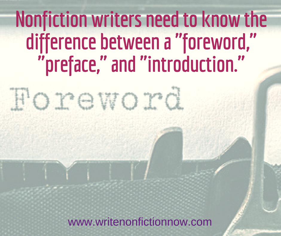 foreword vs. preface vs. introduction for nonficton book
