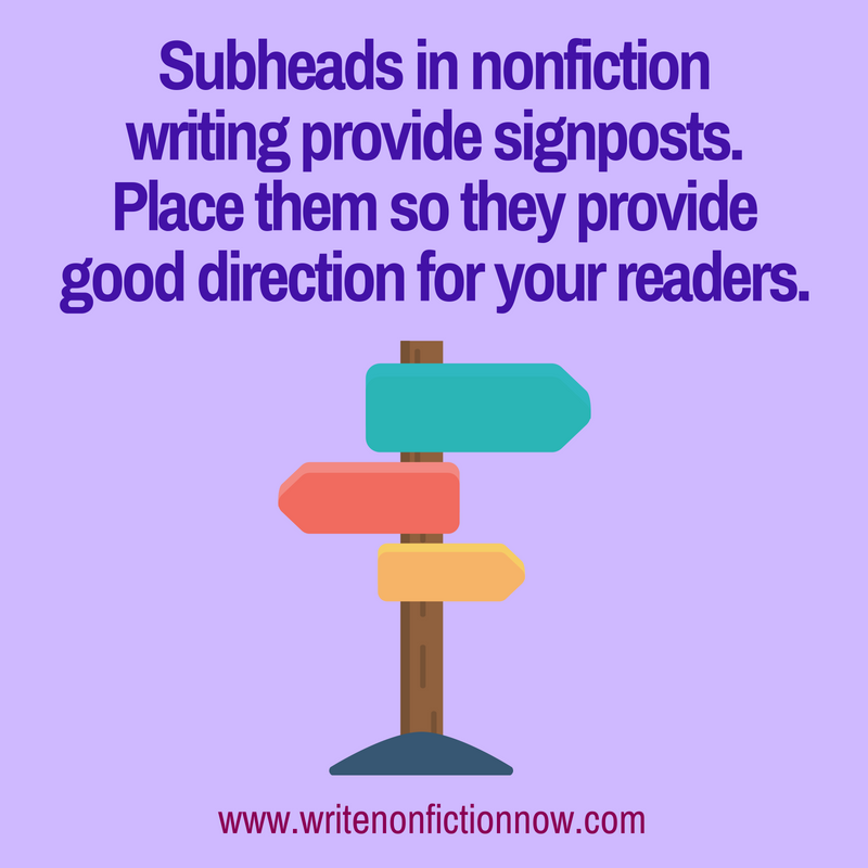 subheads in nonfiction writing