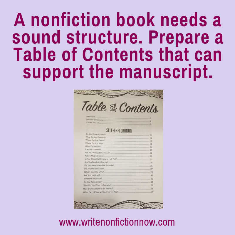 Don't Start Writing Your Nonfiction Book without a Table of Contents