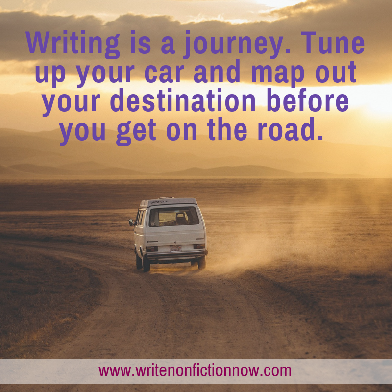 writing is like taking a road trip--stay on track!