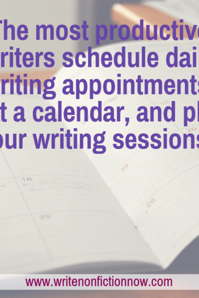 writing schedule using calendar
