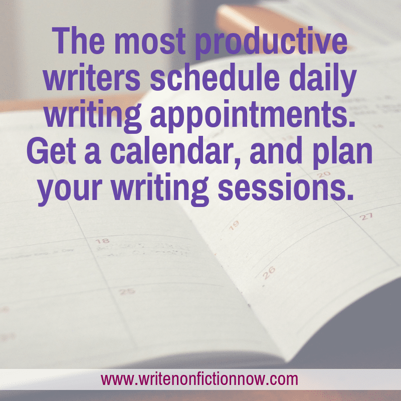 writing schedule using calendar
