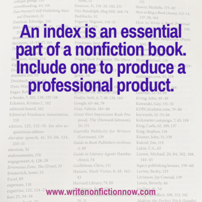 Don't Publish a Nonfiction Book without an Index
