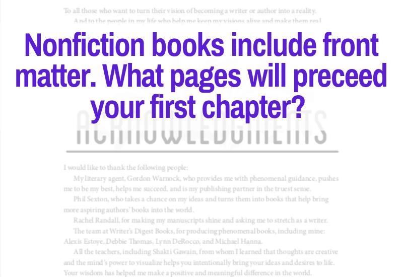 nonfiction books include front matter