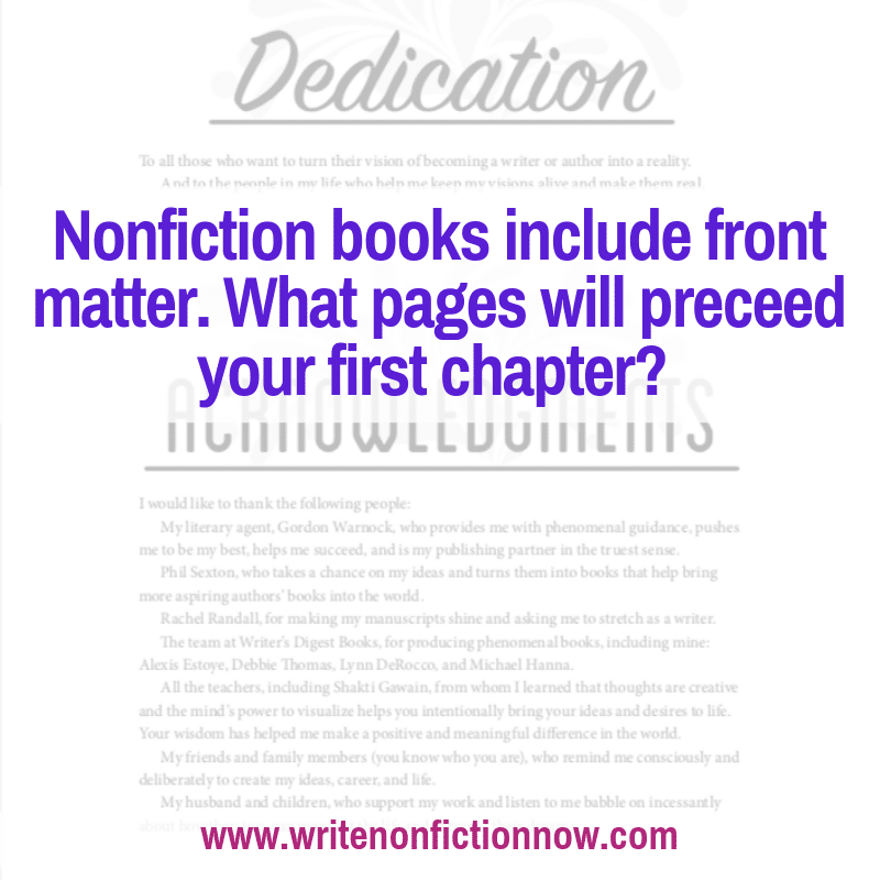 nonfiction books include front matter