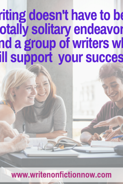 joining a writers' group or getting a writing buddy can help nonfiction writers succeed