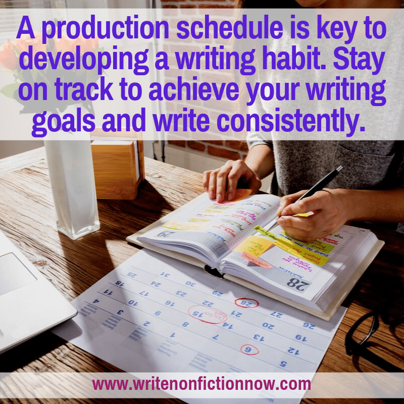 how to develop a daily writing habit by using a writing production schedule