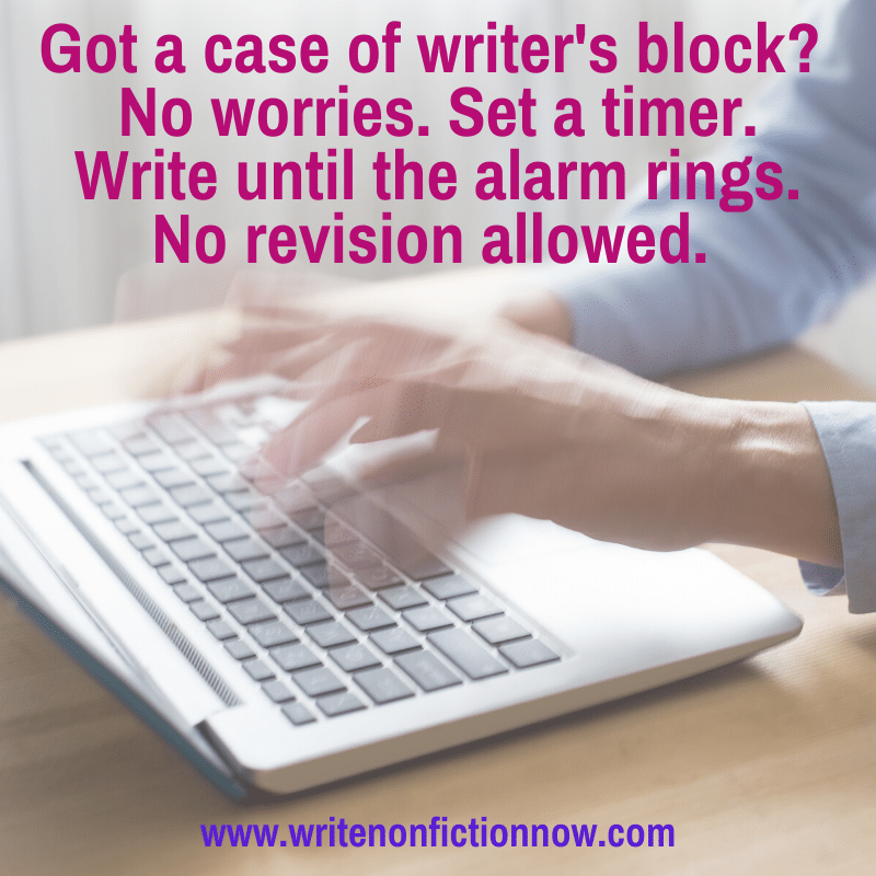 use speedwriting to eliminate writer's block