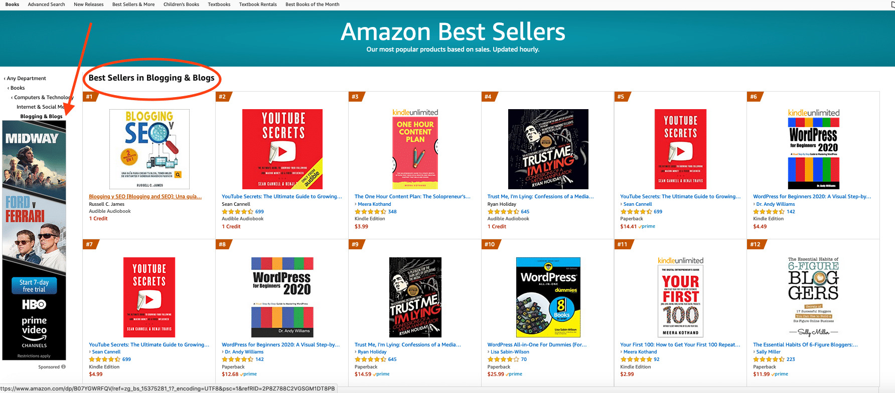 Blogging Bestseller list on Amazon