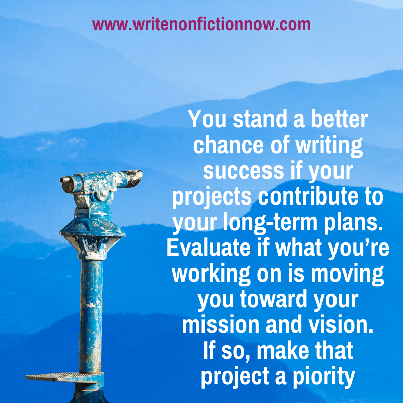 make your writing projects priorities